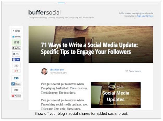 ventes en ligne avec les réseaux sociaux : Montrez des actions sociales de votre blog comme preuve sociale