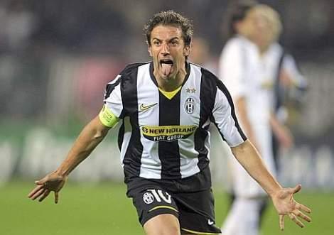 Alessandro Del Piero dopo il gol dell'1 a 0 contro il Real, (AP Photo/Masimo Pinca)