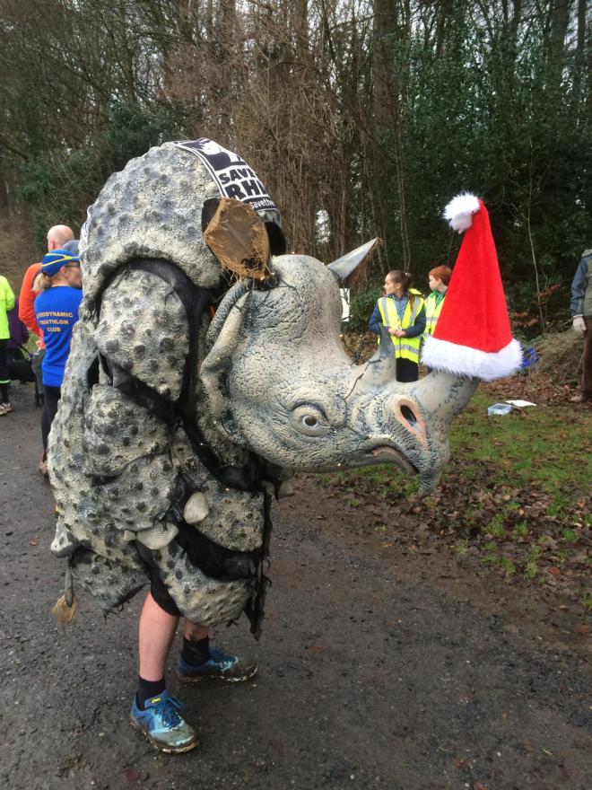 pic of rhino at finish line