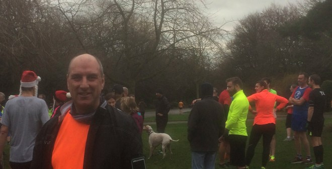 jim mowatt at finish of Dewsbury parkrun