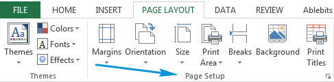 Go to the Page Layout tab and find the Page Setup section
