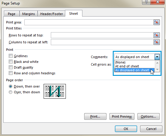 Select the As displayed on sheet option