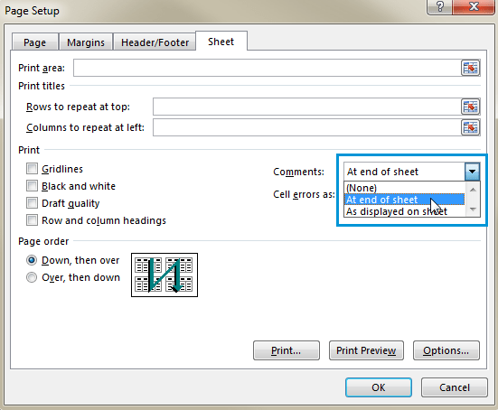 Select the At end of sheet option