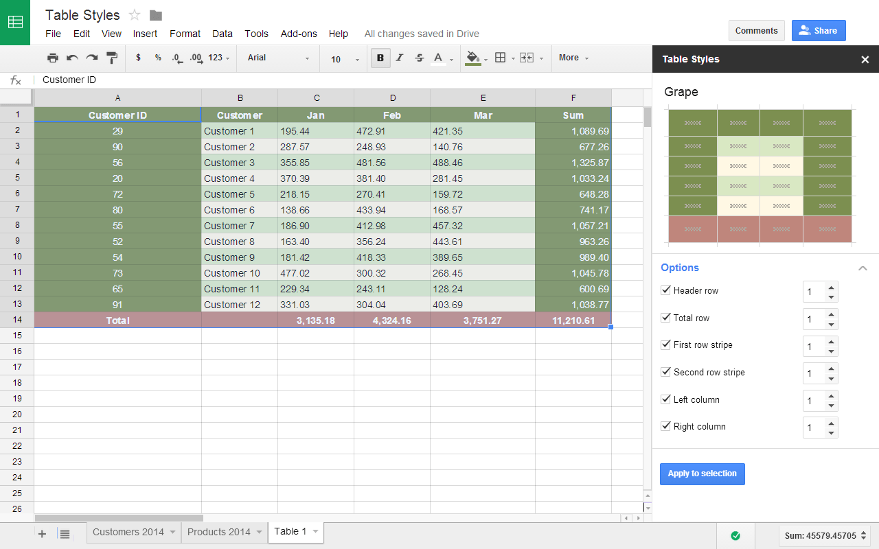 Table Styles Add On For Sheets