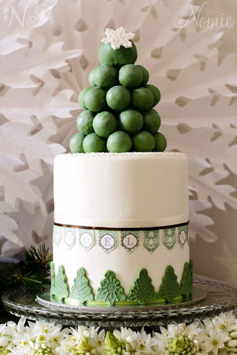 green and white christmas cake