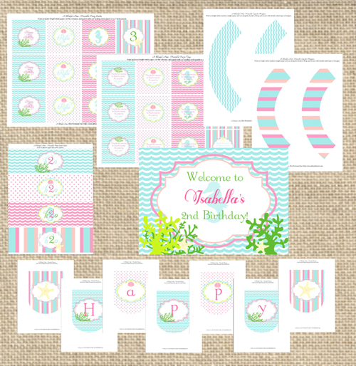Little Mermaid Ariel Birthday Party Printables - A Blissful Nest