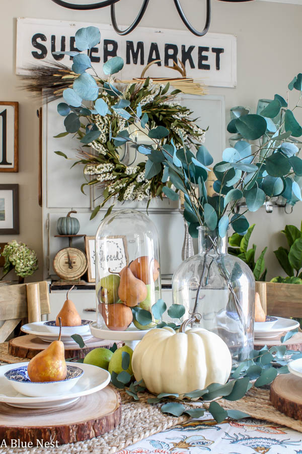 casual thanksgiving table, pears, farmhouse