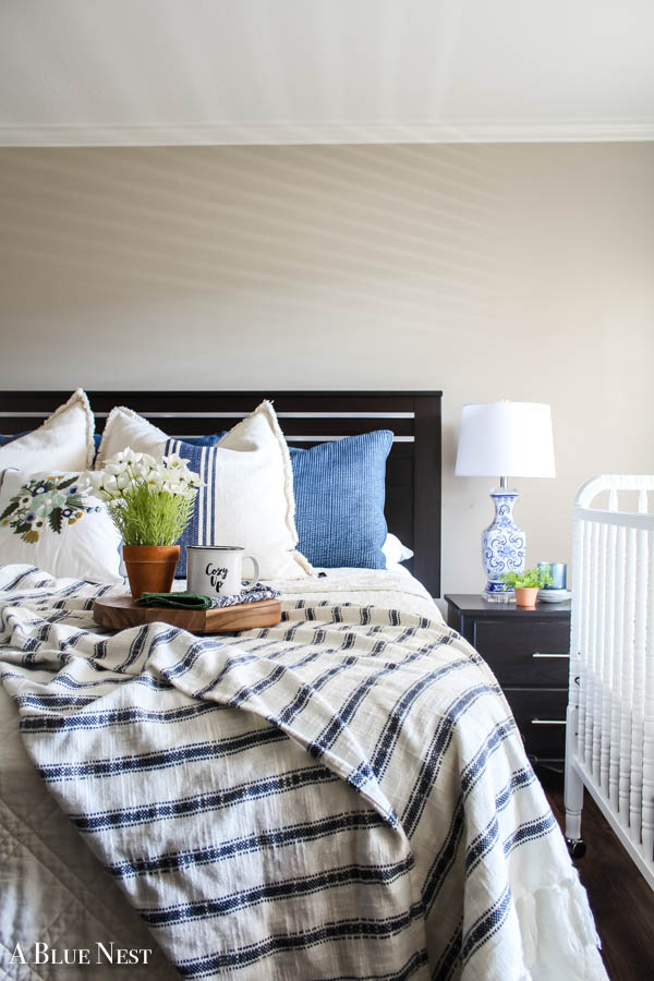 Blue and White Spring Bedroom