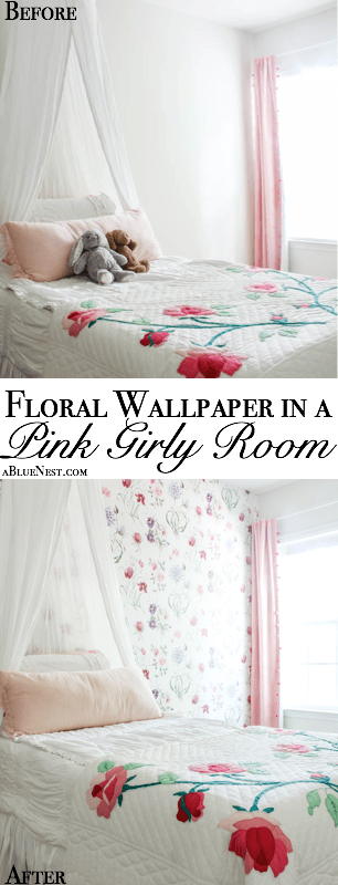 floral wallpaper in a girly pink room