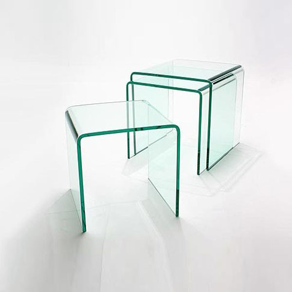 contemporary glass side tables nest