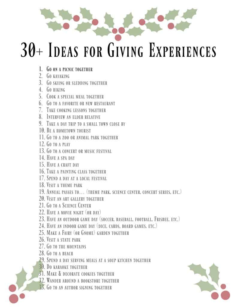 giving experiences printable