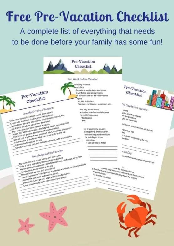 Pre Vacation Checklist
