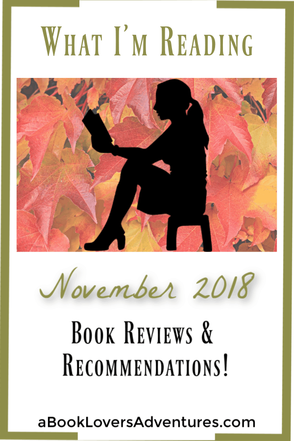 What I'm Reading November; black silhouette of woman reading with fall leaves as background