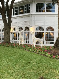 deer made of white lights out on the lawn at the Grand Floridian