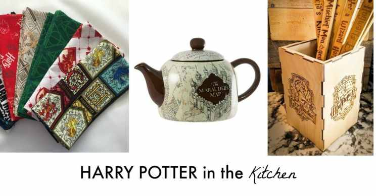 Harry Potter cloth napkins, teapot and wooden spoons are great Harry Potter products