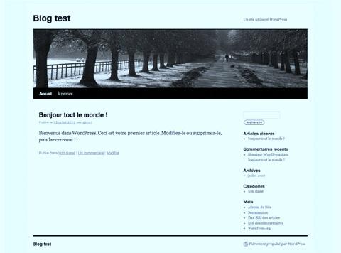 Page d'accueil de wordpress après installation