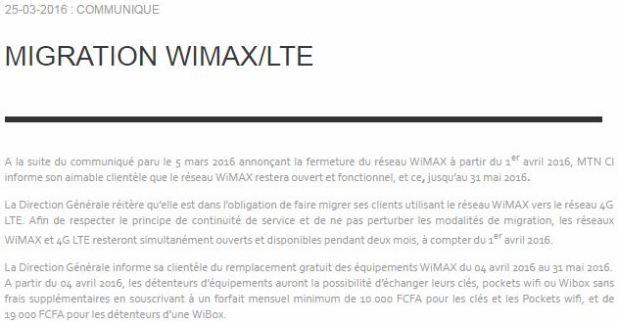 migration-4G-MTN-CI vers le remplacement gratuit des equipements wimax