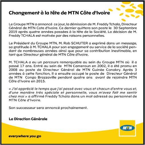 MTN Côte d'Ivoire annonce la démission de son DG M.Freddy Tchala