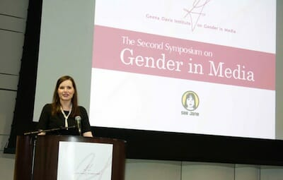 Geena Davis speaking at the Second Symposium on Gender in the Media.