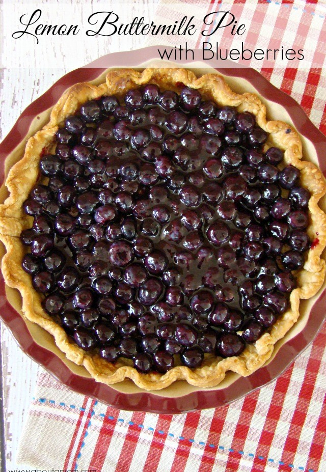 About a Mom -lemon buttermilk pie with blueberries