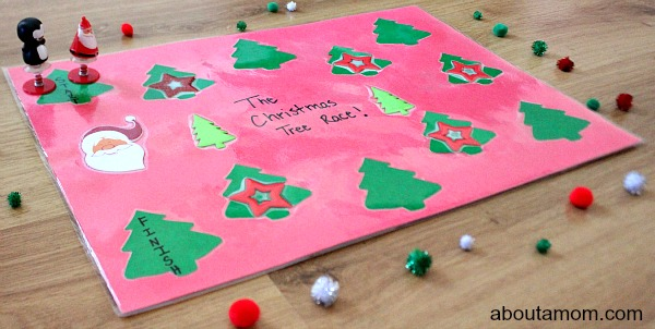 christmas tree race poster board game