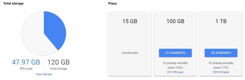 Google Drive pricing