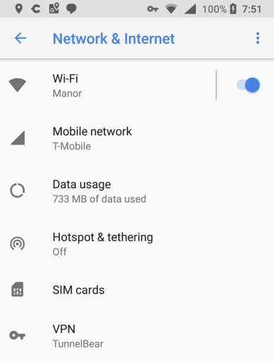 Android VPN settings
