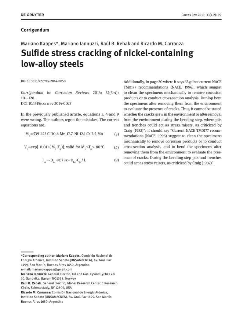 Corrigendum - Sulfide stress cracking of nickel-containing low-alloy steels