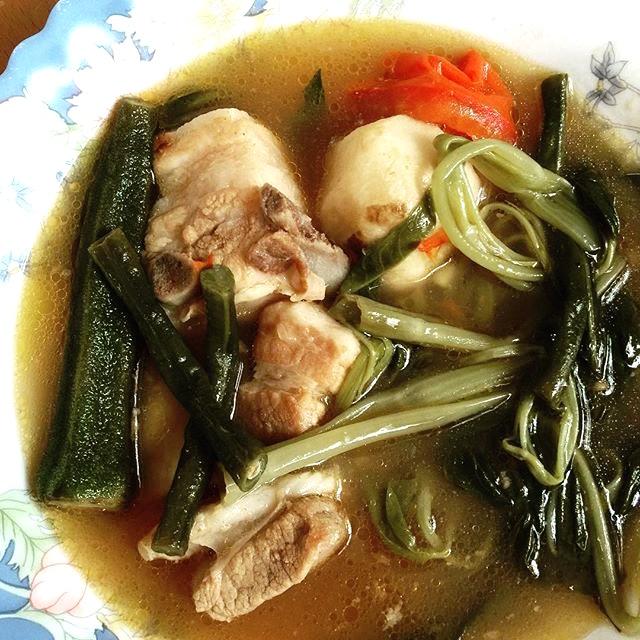 Pork Sinigang with Gabi, Okra, Sitaw, Kangkong