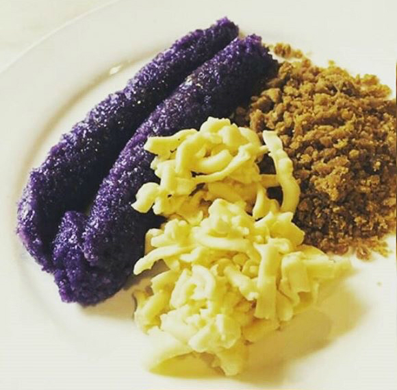 Puto Bumbong with Grated Cheddar Cheese and Muscovado Sugar