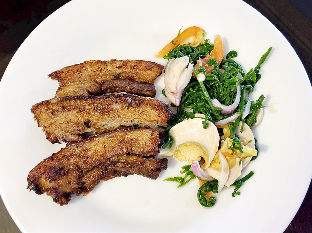 Fried Liempo and Fern Salad