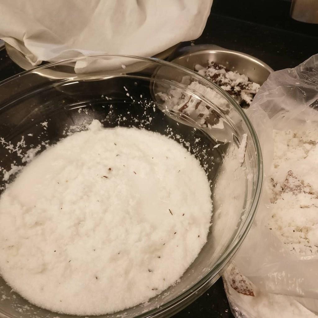 squeezing coconut milk