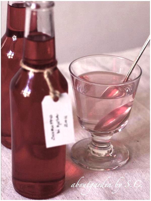 bottigliette Home made di sciroppo di rosa
