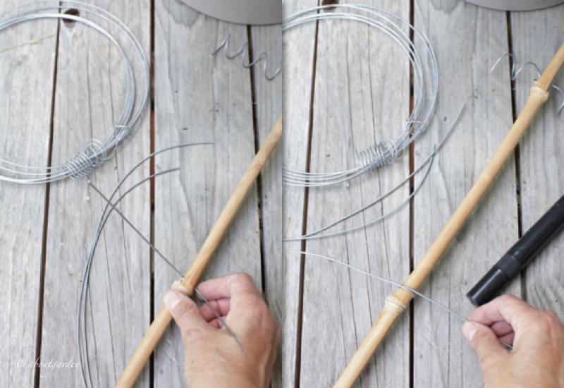 inserire fil di ferro nella canna
