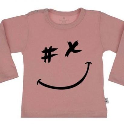 "Wooden Buttons longsleeve roze ""smile"""
