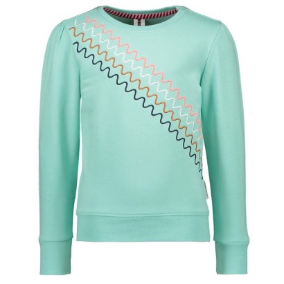 B-nosy sweater with puff sleeves ice green