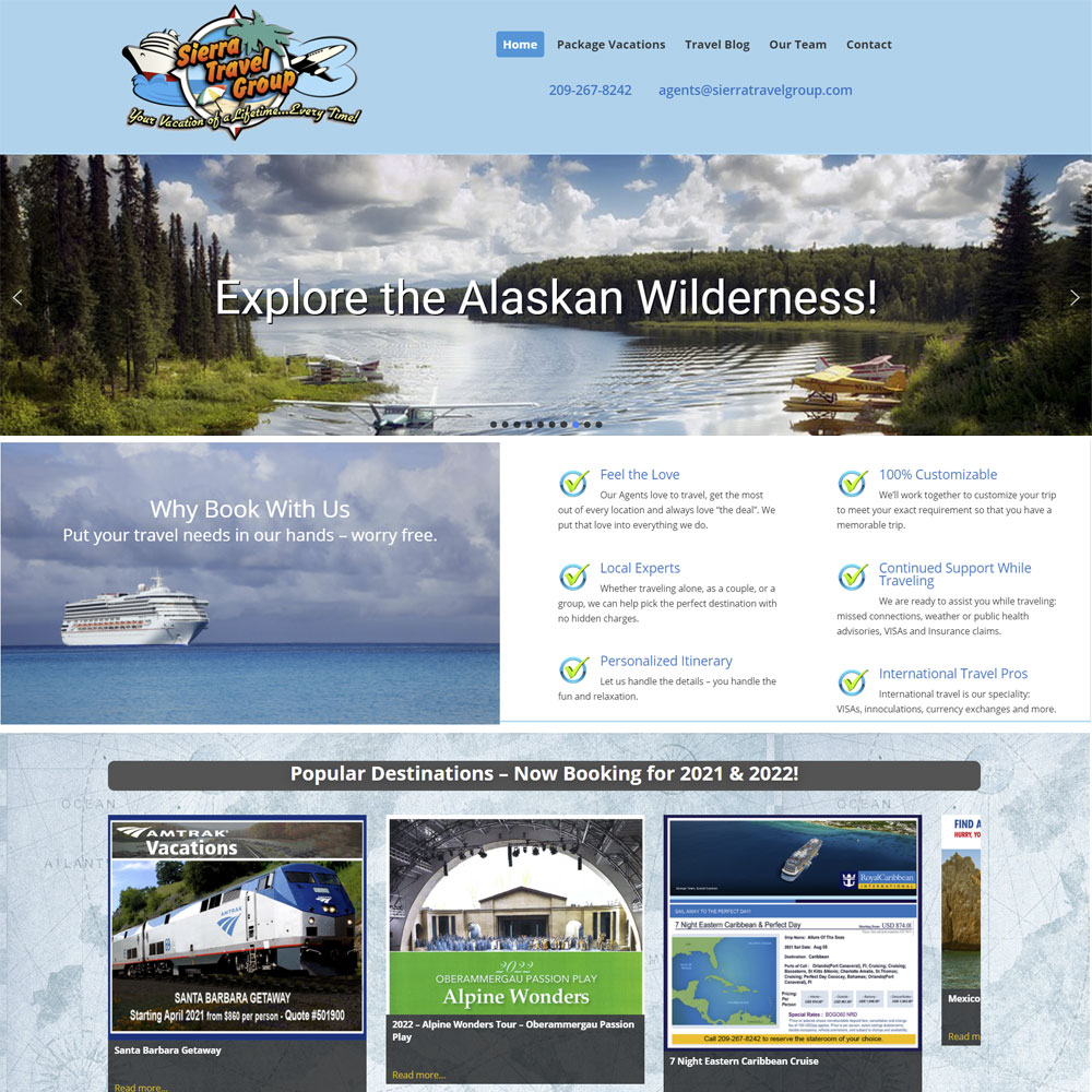 Sierra Travel Group webpage