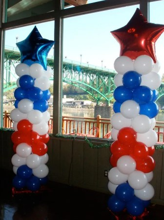Red, white & blue columns stand proudly