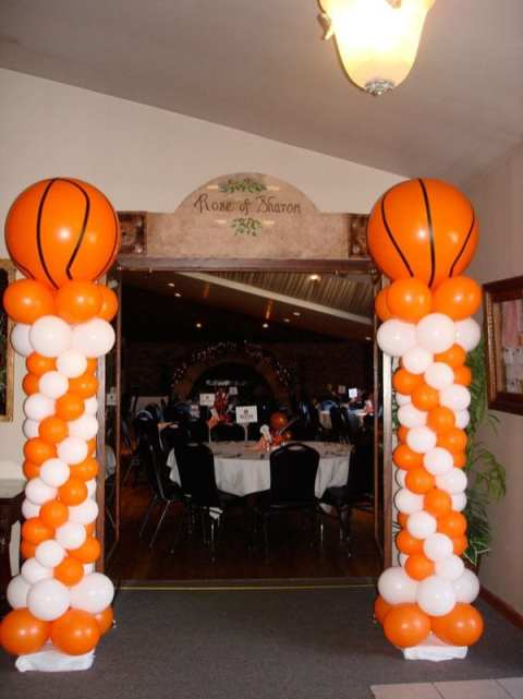 Giant basketballs atop classic columns tip of a fun banquet