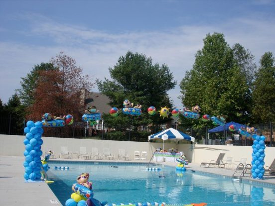 Fly high over pools with a colorful arch