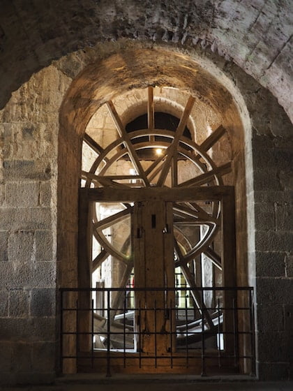 Big Wheel inside the abbey at Mont St Michel