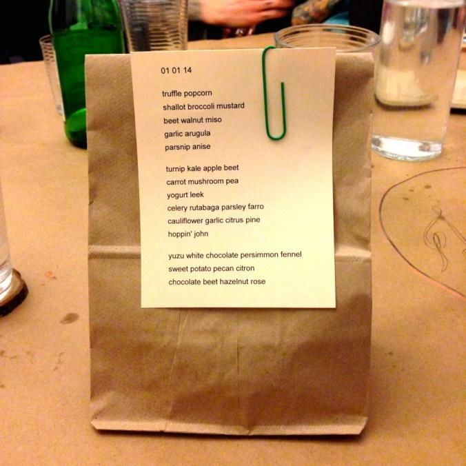 vegan supper club menu