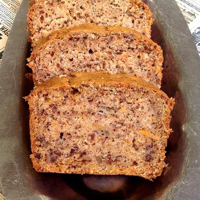 vegan spiced peach carrot bread