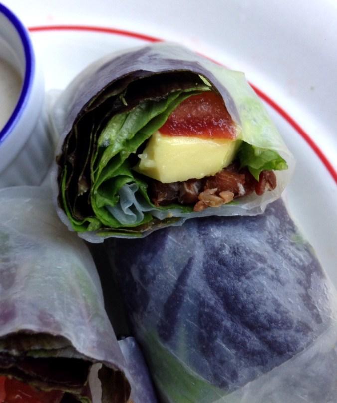 vegan blt spring rolls inside shot