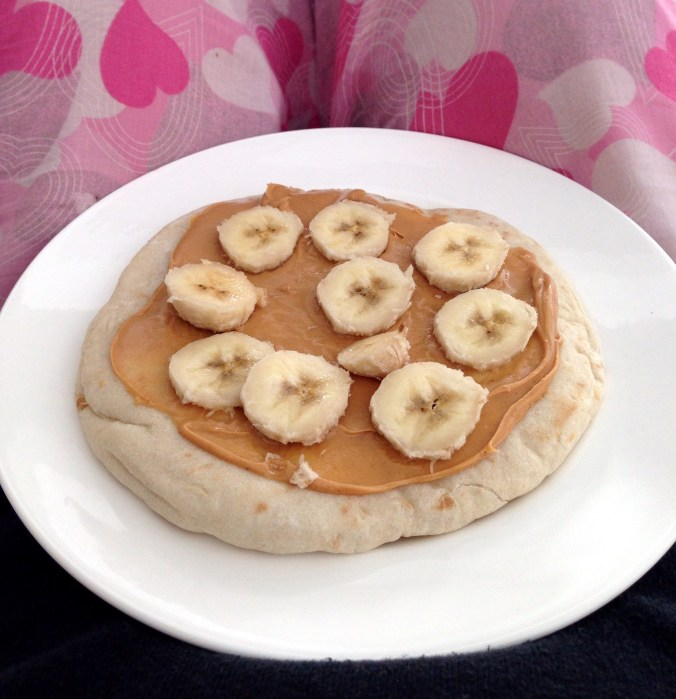 vegan peanut butter and banana pizza