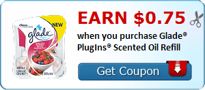 Earn $0.75 when you purchase Glade® PlugIns® Scented Oil Refill