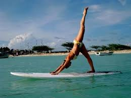 stretching on surf board