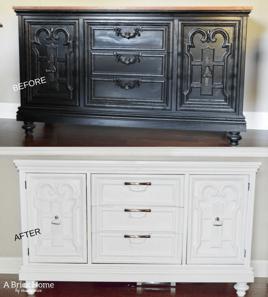 A Brick Home: Buffet Makeover, Furniture makeover, buffet makeover before after, painted furniture, furniture makeover DIY