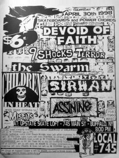 April 30th 1998. The Swarm at Upstate Skate Loft (Buffalo, NY). With Devoid of Faith, Sirhan, Assnine