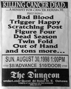 August 30th 1998 at The Dungeon (Oshawa, ON) Dead Season with Bad Blood, Trigger Happy, Scratching Post, Figure Four, Twin Fold and Out of Hand